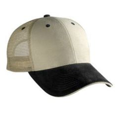 OTTO Brushed Bull Denim Sandwich Visor Low Profile Style Mesh Back Cap