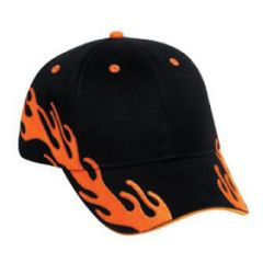 OTTO Flame Pattern Brushed Cotton Twill Sandwich Visor Low Profile Style Cap