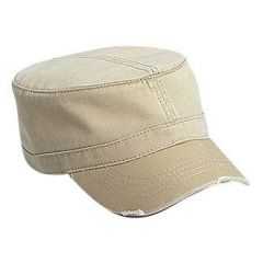 OTTO Superior Garment Washed Cotton Twill Distressed Visor Military Style Cap