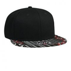 OTTO Aztec Pattern Superior Cotton Twill Jacquard Flat Visor with Binding Trim Pro Style Snapback Cap