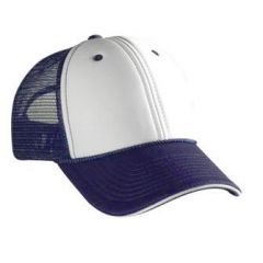 OTTO Polyester Foam Front Sandwich Visor Low Profile Style Mesh Back Cap