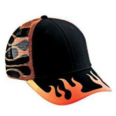 OTTO Flame Pattern Cotton Twill Low Profile Style Mesh Back Cap