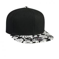 OTTO Superior Cotton Twill with Hawaiian Pattern Flat Visor Pro Style Snapback Cap