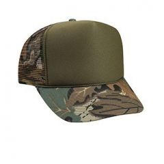 OTTO Polyester Foam Front Camouflage Visor High Crown Golf Style Mesh Back Cap