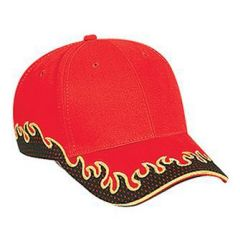OTTO Flame Pattern Brushed Cotton Twill Polyester Pro Mesh Sandwich Visor Low Profile Style