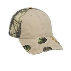 OTTO Camouflage Superior Garment Washed Cotton Twill Distressed Visor Low Profile Style Cap