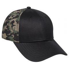 OTTO Garment Washed PU Coated Cotton Canvas Front Digital Camouflage Cotton Ripstop Back Low Profile Style Cap