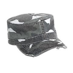 OTTO Camouflage Superior Garment Washed Cotton Twill Distressed Visor Military Style Cap